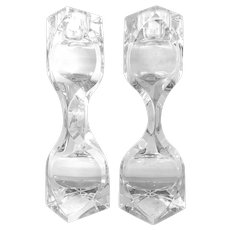 SCULPTURAL Pair of 1970s Mikasa Hand Crafted Lead Crystal Prism Design CANDLEHOLDERS