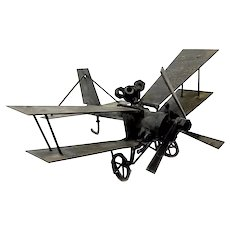 SIGNED Dated 1970 Handmade Iron Modernist Airplane Bi-Plane Aviation SCULPTURE