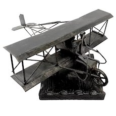 BIG Vintage 1970s Handmade Iron Modernist Airplane Bi-Plane Aviation Theme SCULPTURE on a Wood Base