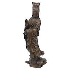 EXQUISITE Antique 19th Century Chinese Carved Huanghuali Rosewood KWAN YIN Guanyin STATUE