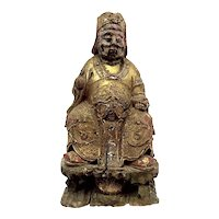RARE Antique Chinese Late Ming Early Qing Carved & Painted Wood Imperial Courtier STATUE