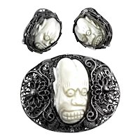CURIOUS Antique Qing Dynasty Chinese Handmade 900 Silver Filigree & Carved Mother of Pearl MASK Brooch & Earrings SET