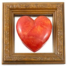 Vintage 1960s 70s Pop Art Handmade Carved Stone Heart on Mirror and Framed WALL ART