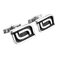 BIG 1950s Harold Fithian Handmade Sterling Silver Geometric Modernist CUFFLINKS