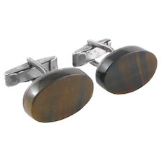 ICONIC 1950s 60s Enrique Ledesma Handmade Sterling & Tigereye Mexican Modernist CUFFLINKS
