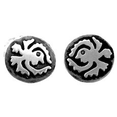 UNIQUE Vintage 1950s Taxco Handmade Sterling Silver Mexican Modernist CUFFLINKS