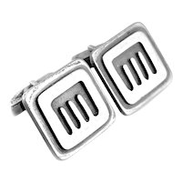 RARE One of a Kind 1950s Burkee Handmade Sterling Silver Modernist CUFFLINKS