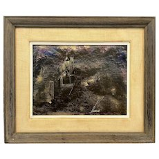 SIGNED Original 1960s 70s Abstract Cityscape Architectural Modernist PAINTING in the Original Frame & Matte
