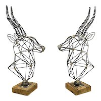 HUGE Pair 1960s 70s Handmade Mixed Metals Geometric Modernist Antelope Gazelle SCULPTURES