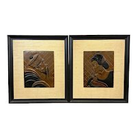 LOVELY Pair of Vintage 1940s Copper Craft of Hollywood Chinoiserie Asian Male & Female ARTWORKS - Original Frames
