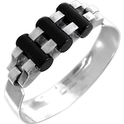 SUPERB 1960s 70s Sven Haugaard Denmark Handmade Sterling Silver & Black Onyx Geometric Modernist BRACELET