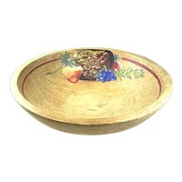 HUGE Vintage 1940s Mexican Art Deco Handmade & Painted Wood Centerpiece BOWL
