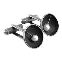 RARE 1950s Ed Levin USA Handmade Sterling Silver & Pearl Modernist CUFFLINKS