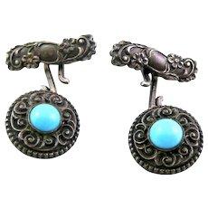 ANTIQUE Victorian Era c.1880-1900 Ornate Handmade Sterling Silver & Persian Turquoise CUFFLINKS