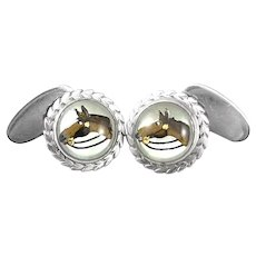 ANTIQUE Early 20th Century Handmade Sterling Reverse Carved Crystal & Mother of Pearl Equestrian Horse Head CUFFLINKS