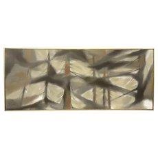 "HUGE 1962 Original Trew Hocker Oil on Canvas Modernist PAINTING - 49.75"" by 21"" in Original Frame"