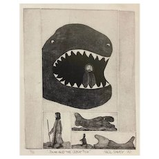 "ORIGINAL 1970 Signed Marc Davey Modernist PRINT on Paper 4/10 ""Jonah and the Great Fish"""