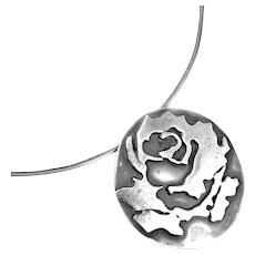 UNIQUE One of a Kind 1970s Handmade Sterling Silver Modernist Brutalist Rose Pendant on Neckring NECKLACE