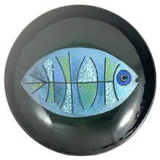RARE 1950s One of a Kind Ellamarie & Jackson Woolley Copper Enamel Modernist Fish BOWL