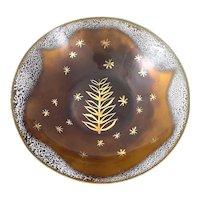 STRIKING Vintage 1950s Edward Winter Handmade Copper Enamel Modernist Foliate & Stars Design BOWL
