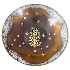 STRIKING Vintage 1950s Edward Winter Handmade Copper Enamel Modernist Foliate & Stars Design BOWL