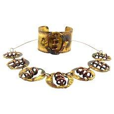 SUPERB Vintage 1970s Modernist Brutalist Sculptural Handmade Bronze & Copper Cuff Bracelet & Necklace SET