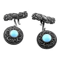 RARE Antique Victorian Handmade Sterling Silver & Turquoise Ornate CUFFLINKS