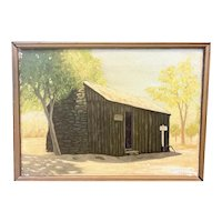 ORIGINAL 1940s Emil J. Hugentobler California Bay Area Oil on Canvas Framed PAINTING