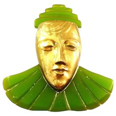BIG Vintage 1930s ART DECO Handmade Carved Green Bakelite & Gilt Brass PIERROT Design DRESS CLIP