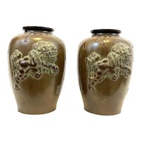 ELEGANT Pair of Vintage 1950s 60s SIGNED Chinese Bronzed Metal Fu Foo Dog Lion Shi Shi VASES