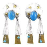 ONE Of A Kind 1980s Handmade Sterling Gold Overlay Brass & Turquoise Native Meets Memphis EARRINGS
