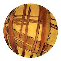 """SUPERB Vintage 1950s 60s Gwendolyn Orsinger Anderson Copper Enamel Abstract Modernist Art PLATTER - Measures 10"""" diameter"""