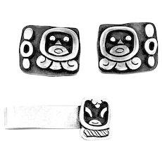 STRIKING 1950s Miguel Garcia Martinez Taxco Sterling Silver Mexican Modernist Cufflinks & Tiebar SET
