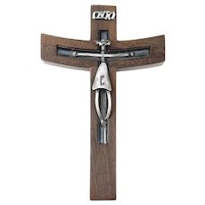 BIG Vintage 1950s Signed Handmade Rosewood & Sterling Mexican Modernist Crucifix Wall Hanging ART