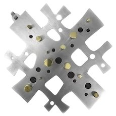 SUPERB 1950s 60s Emaus Cuernavaca Handmade Mixed Metals Mexican Modernist Cross WALL ART