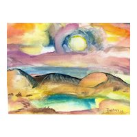 ORIGINAL Vintage 1977 Mark Wollner Watercolor on Paper Mounted on Board Expressionist Landscape PAINTING
