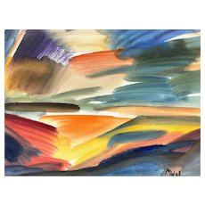 ORIGINAL Vintage 1968 Mark Wollner Watercolor on Paper Mounted on Board Expressionist Landscape PAINTING
