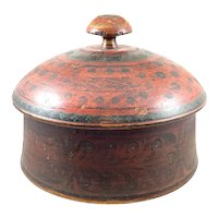 ANTIQUE Indonesian Hand Carved & Elaborately Painted Wood Lidded Spice BOX