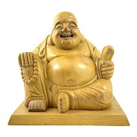 JOLLY Vintage 1940s Japanese Hand Carved Boxwood Laughing Buddha Hotei Statue SCULPTURE
