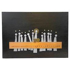 HUGE 1950s Emaus Handmade Mixed Metals Sterling Mexican Modernist Last Supper Wall Sculpture ARTWORK