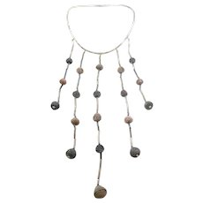 "One of a Kind HUGE Vintage 1960s Taxco Mexico Handmade Sterling Silver & Pre Columbian Clay Beads NECKLACE - 9.5"" Drop at Front!!"