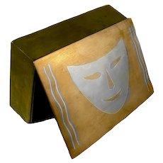 SUPER RARE 1950s Enrique Ledesma Handmade Metales Casados Mixed Metals Mexican Modernist Mask Design BOX - One of a Kind!