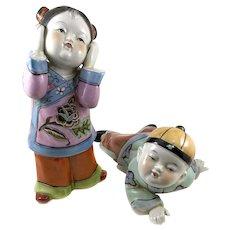 "PAIR 1940s Chinese Export Hand Painted Ceramic Children Boy & Girl FIGURINES - 9.5"" tall"