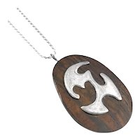 BIG 1950s Handmade Sterling Silver & Wood Biomorphic Modernist Pendant NECKLACE