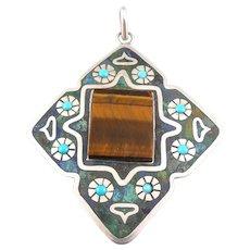 HUGE Vintage 1960s 70s Taxco Mexico Melecio Rodriguez Handmade Sterling Silver & Stones Modernist PENDANT