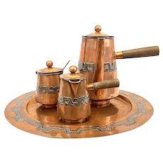 RARE 1940s 50s Victoria Taxco Handmade Copper & Silver 5 Piece Aztec Deco COFFEE SET with Tray