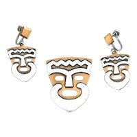 RARE Vintage 1960s 70s Bélanger Canada Handmade Mixed Metals Bearded Man Face Brooch & Earrings SET