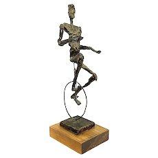 "HUGE Rare 1950s 60s Jaru California Handmade Resin Metal Wood Brutalist Modernist Unicyclist SCULPTURE - 19.75"" Tall!"