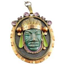 HUGE Vintage 1960s 70s Mexico Handmade Mixed Metals & Ceramic pre-Columbian CHIEFTAIN Design Pendant NECKLACE