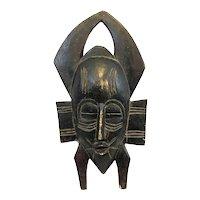 RARE Early 1950s Handmade Carved Wood Ivory Coast Ligbi Kulango African MASK